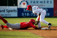 Alex DeGoti applies the tag for an out